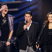 NLD/Hilversum/20141121- 2de Live The Voice of Holland, Ferry de Ruiter, Martijn Krabbe en Gabriella Massa