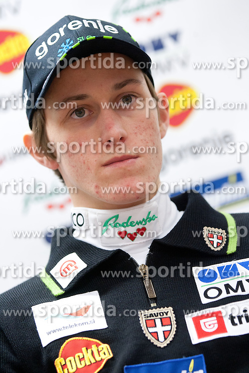 Peter Prevc at press conference of Slovenian Nordic Ski Jumping team after they placed third in team competition at World Cup in Harrachov (CZE), on December 13, 2011 in SZS, Ljubljana, Slovenia. (Photo By Vid Ponikvar / Sportida.com)