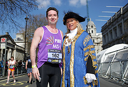 A competitor with The Right Worshipful Lord Mayor of Westminster Councillor Lindsey Hall during the 2019 London Landmarks Half Marathon.