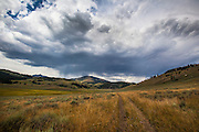 Rumbles of thunder as storm clouds loom over the sage brush near Glen Creek, on the Sportsmans Lake Trail towards the aptly named Electric Peak, Yellowstone National Park, Wyoming.