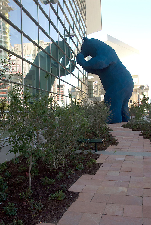 The Blue Bear sculpure at the Colorado Convention Center in downtown Denver.