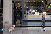 A pet dog is tied-up and waits for its owner who is inside a sandwich business during the lunchtime rush on Watling Street, the former Roman thoroughfare, in the City of London, (aka The Square Mile) the capital's financial district, on 3rd September 2019, in London, England.