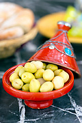 Moroccan tapas platter at Dar Zerhoune Guesthouse, Moulay Idriss Zerhoun, Middle Atlas, Morocco, 2015-09-20.