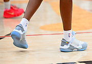"Tuff Crowd Forward Shaqir O'Neal plays in a pair of Nike Adapt BB in a ""Back To The Future"" color way during a Drew League basketball game, Saturday, June 15, 2019, in Los Angeles.  (Dylan Stewart/Image of Sport)"