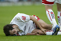 Photo: Marc Atkins.<br />Milton Keynes Dons v Notts County. Coca Cola League 2. 02/09/2006. Gary Smith of Mk Dons lays injured.