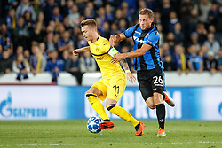 September 18, 2018 - Brugge, BELGIUM - Dortmund's Marco Reus and Club's Mats Rits fight for the ball during a game between Belgian soccer team Club Brugge KV and German club Borussia Dortmund, in Brugge, Tuesday 18 September 2018, day one of the UEFA Champions League, in group A. BELGA PHOTO KURT DESPLENTER (Credit Image: © Kurt Desplenter/Belga via ZUMA Press)