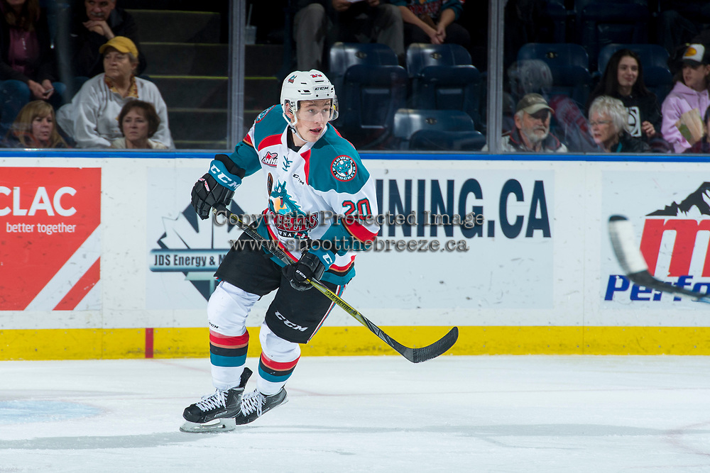 KELOWNA, CANADA - FEBRUARY 24: Conner Bruggen-Cate #20 of the Kelowna Rockets skates against the Kamloops Blazers  on February 24, 2018 at Prospera Place in Kelowna, British Columbia, Canada.  (Photo by Marissa Baecker/Shoot the Breeze)  *** Local Caption ***