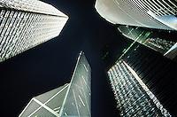 Looking up at skyscrapers in central Hong Kong, China.