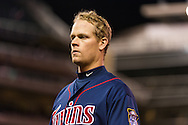 Justin Morneau #33 of the Minnesota Twins looks on during a game against the Los Angeles Angels on April 16, 2013 at Target Field in Minneapolis, Minnesota.  The Twins defeated the Angels 8 to 6.  Photo: Ben Krause