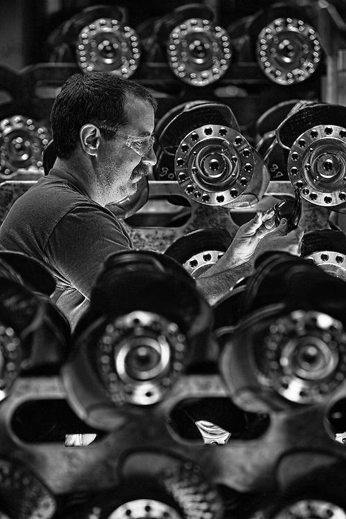 Volvo technician measuring crankshaft tolerance