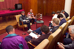 KIEV, UKRAINE - Monday, June 4, 2001: Wales' manager Mark Hughes during a press conference with press officer Ceri Stennett ahead of his side's World Cup Qualifying match against Ukraine. (Pic by David Rawcliffe/Propaganda)