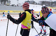 Polish athletes with intellectual disability (L) Adam Pikul and (R) Henryk Trojak compete in Finals of Cross Country Relay 4 x 1000 meters Race during 2013 Special Olympics World Winter Games PyeongChang at Cross Country Skiing Venue on February 5, 2013...South Korea, PyeongChang, February 5, 2013..Picture also available in RAW (NEF) or TIFF format on special request...For editorial use only. Any commercial or promotional use requires permission...Photo by © Adam Nurkiewicz / Mediasport