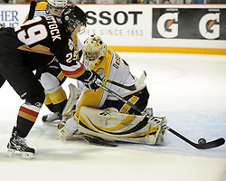 Tyler Shattock of the Calgary Hitmen puts the puck past Jocob De Serres of the Brandon Wheat Kings in Game 6 of the 2010 MasterCard Memorial Cup in Brandon, MB on Wednesday May 19, 2010. Photo by Aaron Bell/CHL Images