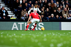 Thomas Ince of Derby County takes on Eric Lichaj of Nottingham Forest while white confetti lies on the pitch - Mandatory by-line: Robbie Stephenson/JMP - 11/12/2016 - FOOTBALL - iPro Stadium - Derby, England - Derby County v Nottingham Forest - Sky Bet Championship
