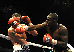 28 August 2009: Tavoris Cloud (gold trunks) defeated Clinton Woods (blue and white trunks) for the IBF Light Heavyweight Title at the Seminole Hard Rock Hotel and Casino in Hollywood, Florida.