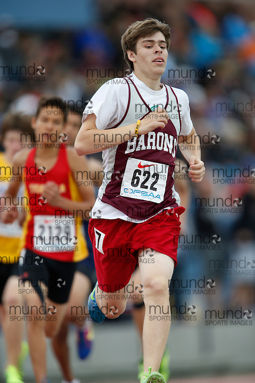 Jager Perreault of ESC Algonquin - North Bay competes in the 800 metre heats at the 2013 OFSAA Track and Field Championship in Oshawa Ontario, Saturday,  June 8, 2013.<br /> Mundo Sport Images/ Geoff Robins