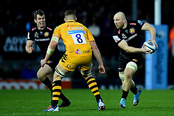 Matt Kvesic of Exeter Chiefs is challenged by Tom Willis of Wasps - Mandatory by-line: Ryan Hiscott/JMP - 30/11/2019 - RUGBY - Sandy Park - Exeter, England - Exeter Chiefs v Wasps - Gallagher Premiership Rugby