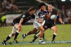 Rene Ranger of The Blues releases the ball during the Super15 match between The Mr Price Sharks and The Blues held at Mr Price Kings Park Stadium in Durban on the 26th February 2011..Photo By:  Ron Gaunt/SPORTZPICS