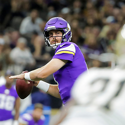 Aug 9, 2019; New Orleans, LA, USA; Minnesota Vikings quarterback Sean Mannion (4) throws a touchdown against the New Orleans Saints during the second quarter at the Mercedes-Benz Superdome. Mandatory Credit: Derick E. Hingle-USA TODAY Sports