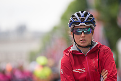 Lotta Lepistö (FIN) of Cervélo-Bigla Cycling Team waits for the start of the Prudential Ride London Classique - a 66 km road race, starting and finishing in London on July 29, 2017, in London, United Kingdom. (Photo by Balint Hamvas/Velofocus.com)