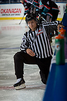 KELOWNA, CANADA - OCTOBER 4: Linesman Dustin Minty stretches on the ice during warm up against the Victoria Royals on October 4, 2017 at Prospera Place in Kelowna, British Columbia, Canada.  (Photo by Marissa Baecker/Shoot the Breeze)  *** Local Caption ***