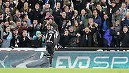 Moussa Sissoko of Newcastle United celebrates scoring their third during the Barclays Premier League match at St. James's Park, Newcastle<br /> Picture by Simon Moore/Focus Images Ltd 07807 671782<br /> 01/01/2015