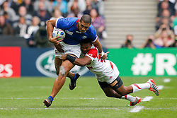 Samoa Outside Centre Paul Perez is tackled by Japan Winger Kotaro Matsushima - Mandatory byline: Rogan Thomson/JMP - 07966 386802 - 03/10/2015 - RUGBY UNION - Stadium:mk - Milton Keynes, England - Samoa v Japan - Rugby World Cup 2015 Pool B.