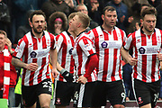 Lincoln City midfielder Danny Rowe (24) scores a goal 1-1 and celebrates  during the EFL Sky Bet League 2 match between Lincoln City and Exeter City at Sincil Bank, Lincoln, United Kingdom on 30 March 2018. Picture by Mick Atkins.