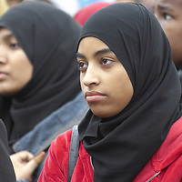 Young muslim women  wearing hijab, Eid in the Square, London, England<br />