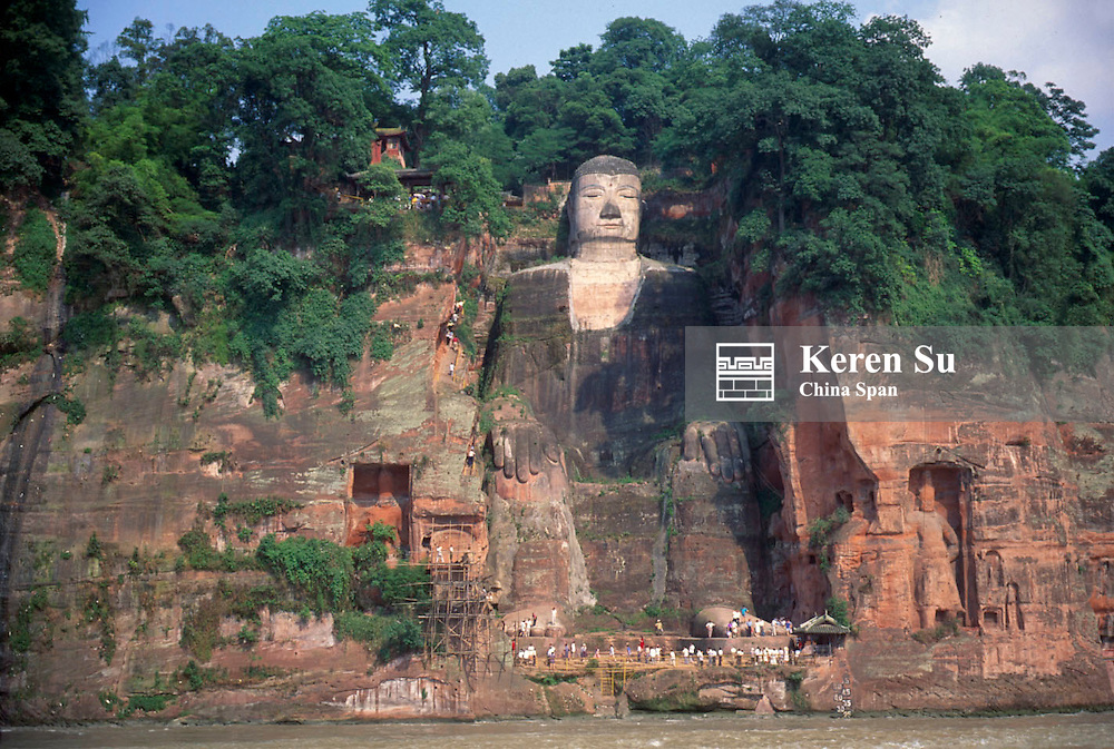 Largest Buddhist sculpture chiseled from the cliff on Mt. Leshan, Sichuan Province, China