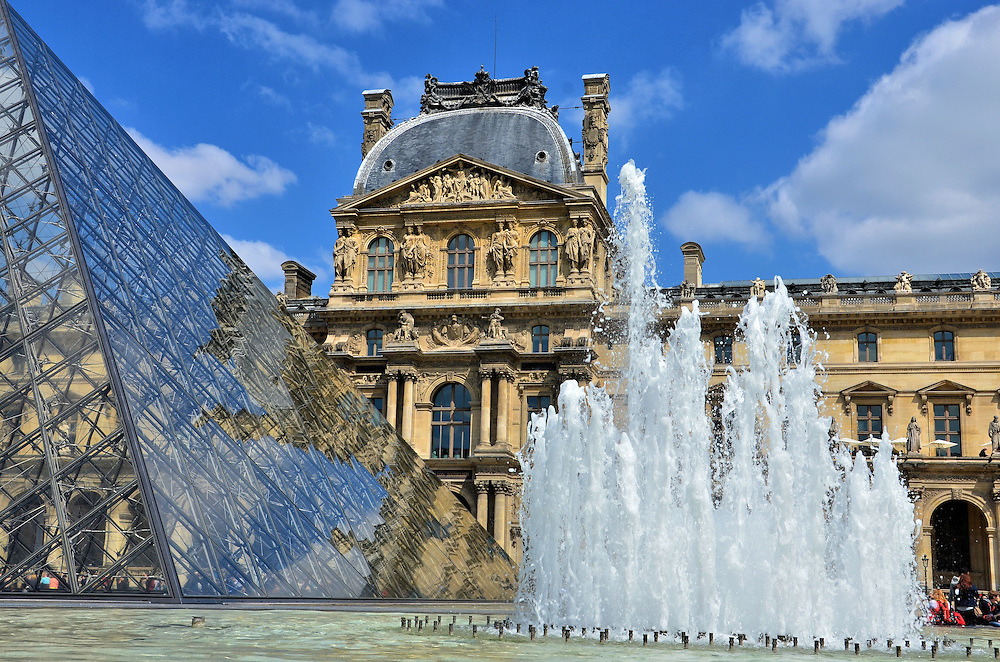 Pavillon Richelieu and Louvre Pyramid at Palais du Louvre in Paris, France<br />