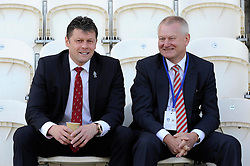 Bristol City manager, Steve Cotterill and majority shareholder of Bristol City, Steve Lansdown talk before the game at Colchester United - Photo mandatory by-line: Dougie Allward/JMP - Mobile: 07966 386802 22/03/2014 - SPORT - FOOTBALL - Colchester - Colchester Community Stadium - Colchester United v Bristol City - Sky Bet League One