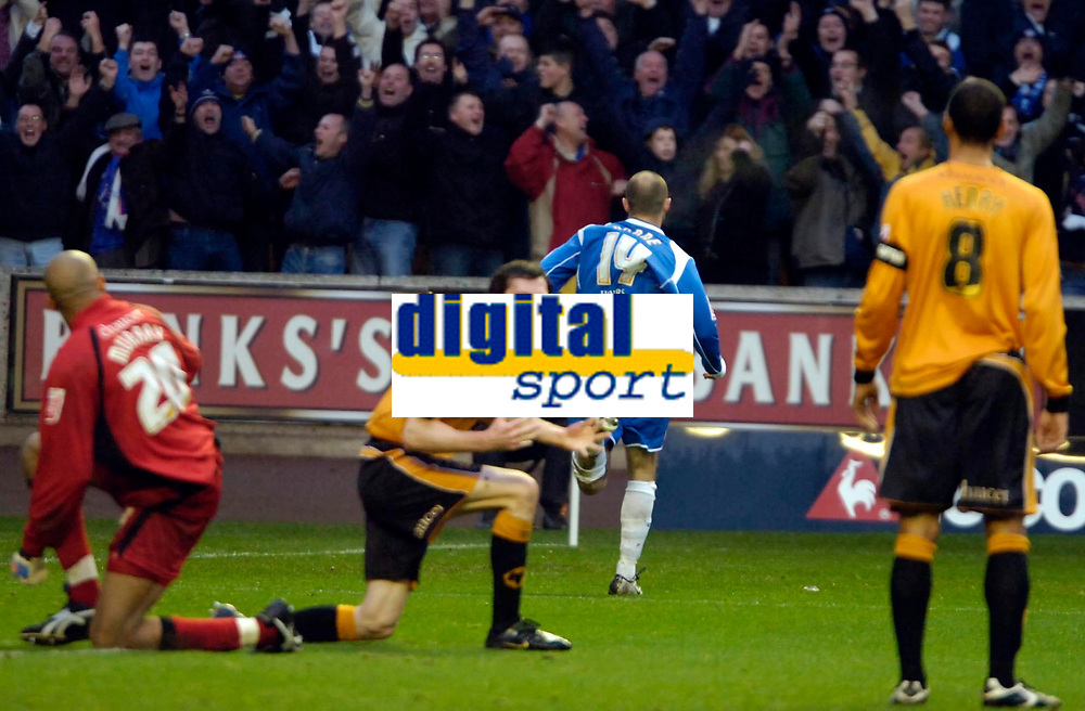 Photo: Ed Godden/Sportsbeat Images.<br />Wolverhampton Wanderers v Oldham Athletic. The FA Cup. 06/01/2007. Oldham's Paul Warne (#14) celebrates his opening goal.
