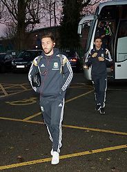 WREXHAM, WALES - Tuesday, November 17, 2015: Wales' Joshua Sheehan arrives before the UEFA Under-21 Championship Qualifying Group 5 match against Romania at the Racecourse Ground. (Pic by David Rawcliffe/Propaganda)