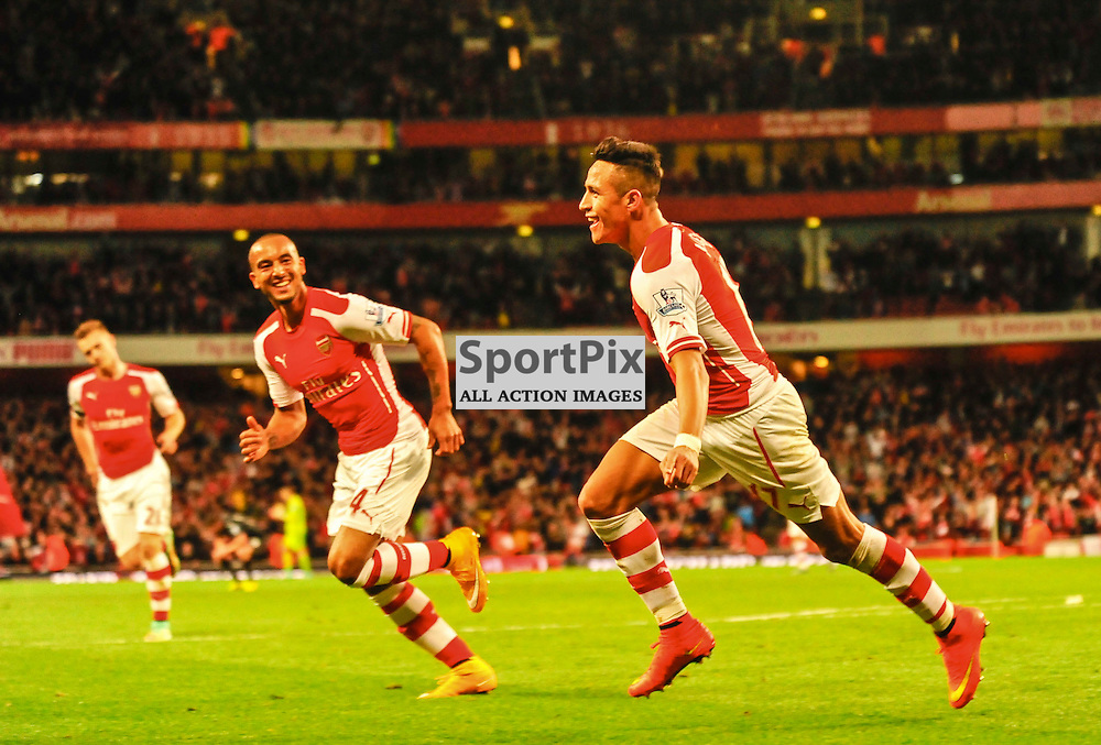 (c) Andrea Putzolu | SPORTPIX.ORG.UK<br /> Third and double score from 17 Forward Alexis Sanchez celebrating while Arsenal's team is very happy to gain a victory tonight.