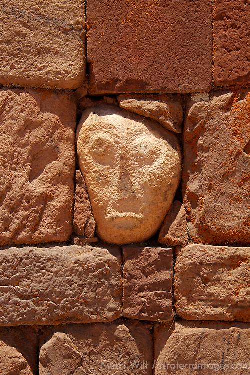 "South America, Bolivia, Tiwanaku. ""Alien"" Stone Tenon Head of Pre-Columbian archaeological site of Tiwanaku, a UNESCO World Heritage Site."