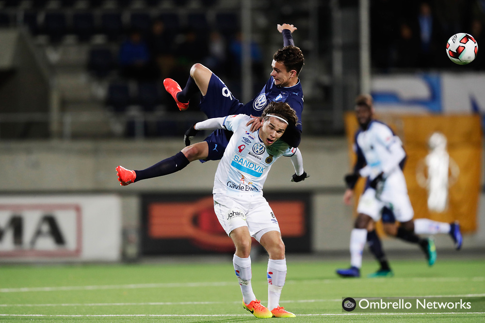 Gävle, SWEDEN - OCTOBER 30: Andreas Windheim of Malmo FF and Simon Skrabb of Gefle IF competes for the ballduring the Allsvenskan match between Gefle IF and Malmo FF at Gavlevallen on October 30, 2016 in Gavle, Sweden. Foto: Nils Petter Nilsson/Ombrello