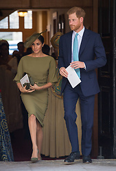 The Duke and Duchess of Sussex depart after attendingthe christening of Prince Louis at the Chapel Royal, St James's Palace, London.