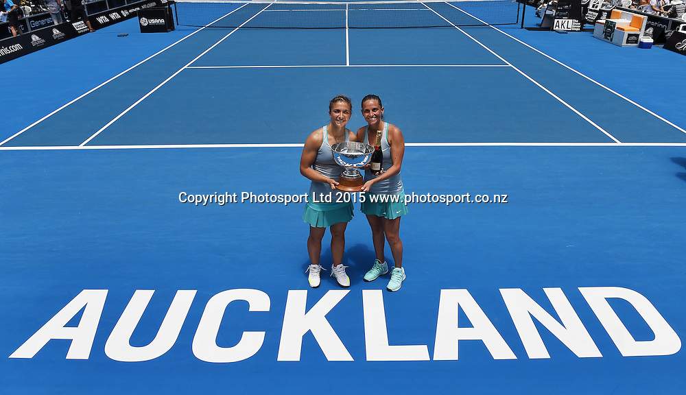 Italian doubles players Sara Errani and Roberta Vinci (R) celebrate their win on Finals day at the ASB Classic WTA International. ASB Tennis Centre, Auckland, New Zealand. Saturday 10 January 2015. Copyright photo: Andrew Cornaga/www.photosport.co.nz