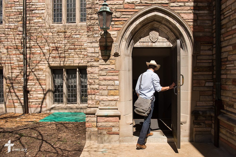 Seminarian Joshua Palmer walks to class at Concordia Seminary, St. Louis, on Monday, March 30, 2015, in Clayton, Mo. LCMS Communications/Erik M. Lunsford