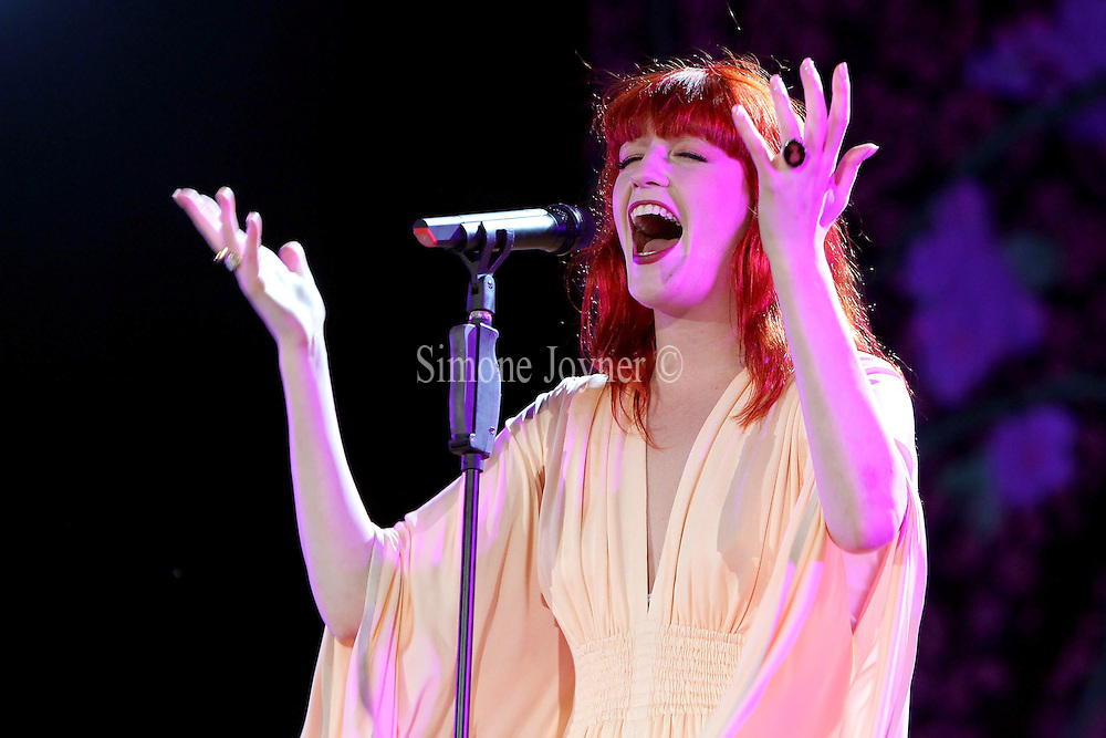 Florence Welch of Florence and The Machine performs on the main stage during day one of the Isle of Wight Festival 2010 at Seaclose Park on June 11, 2010 in Newport, Isle of Wight. (Photo by Simone Joyner)