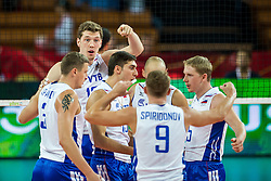 11.09.2014, Centennial Hall, Breslau, POL, FIVB WM, Kuba vs Russland, Gruppe F, im Bild Rosja radosc // Russia gladness during the FIVB Volleyball Men's World Championships 2nd Round Pool F Match beween Cuba and Russia at the Centennial Hall in Breslau, Poland on 2014/09/11. EXPA Pictures © 2014, PhotoCredit: EXPA/ Newspix/ Sebastian Borowski<br /> <br /> *****ATTENTION - for AUT, SLO, CRO, SRB, BIH, MAZ, TUR, SUI, SWE only*****