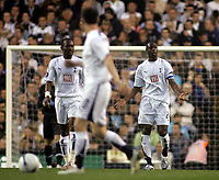 Photo: Paul Thomas.<br /> Tottenham Hotspur v Sevilla. UEFA Cup. Quarter Final, 2nd Leg. 12/04/2007.<br /> <br /> Dejected Spurs captain Ledley King (R).