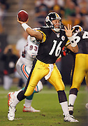PITTSBURGH - SEPTEMBER 7:  Quarterback Charlie Batch #16 of the Pittsburgh Steelers unloads a pass against the Miami Dolphins at Heinz Field on September 7, 2006 in Pittsburgh, Pennsylvania. The Steelers defeated the Dolphins 28-17. ©Paul Anthony Spinelli *** Local Caption *** Charlie Batch