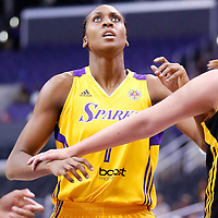 19 June 2014: Los Angeles Sparks forward/center Sandrine Gruda (7) is seen during the Los Angeles Sparks 87-77 victory over the Tulsa Shock, at the Staples Center, Los Angeles, California, USA.