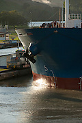 Detail of cargo ship at Miraflores Locks. Panama Canal, Panama City, Panama, Central America.