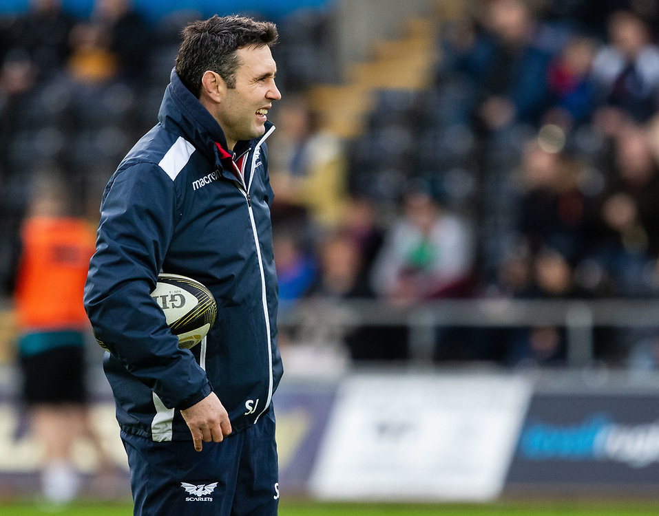 Attack Coach Stephen Jones of Scarlets<br /> <br /> Photographer Simon King/Replay Images<br /> <br /> Guinness PRO14 Round 11 - Ospreys v Scarlets - Saturday 22nd December 2018 - Liberty Stadium - Swansea<br /> <br /> World Copyright © Replay Images . All rights reserved. info@replayimages.co.uk - http://replayimages.co.uk
