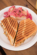 The Cubana Sandwich with Yuka con Mojo from El Gato Tuerto food cart in Portland, Oregon