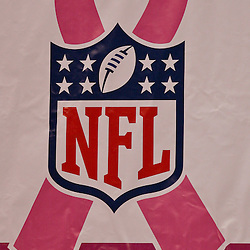 2009 October 04: A sign in the endzone for the NFL's breast cancer awareness week during a game between the New Orleans Saints and the New York Jets at the Louisiana Superdome in New Orleans, Louisiana.