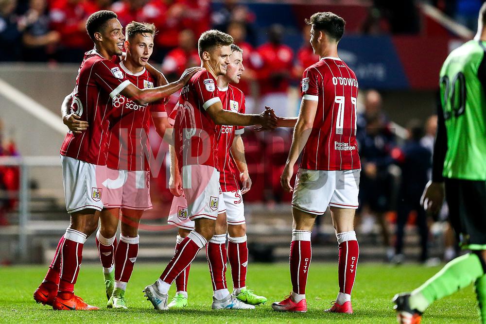 Jamie Paterson of Bristol City celebrates with Callum O'Dowda after scoring a goal to make it 5-0 - Rogan/JMP - 08/08/2017 - Ashton Gate Stadium - Bristol, England - Bristol City v Plymouth Argyle - Carabao Cup Round One.
